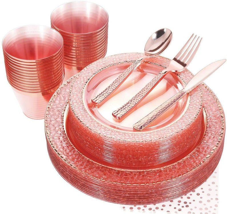 175pcs Pink With Rose Gold Rim Disposable Plastic Plates Set Etsy In 2021 Disposable Plastic Plates Plastic Plates Gold Plastic Plates