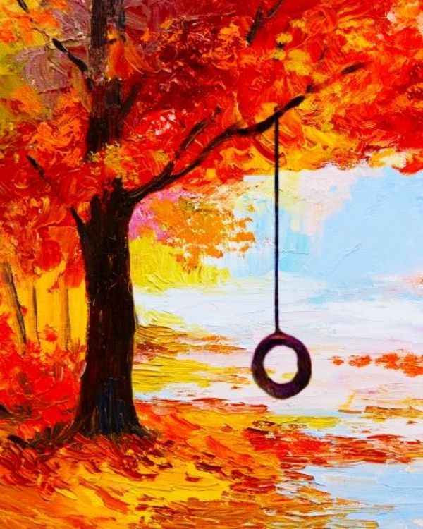 65 Simple And Beautiful Acrylic Painting Ideas For Beginners Hercottage Fall Canvas Painting Autumn Painting Night Painting