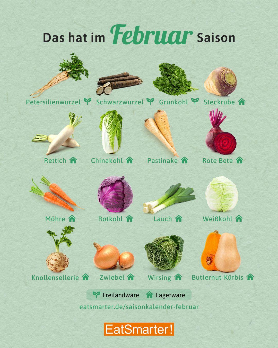 Saisonkalender Februar Obst & Gemüse in 8   Saisonkalender ...