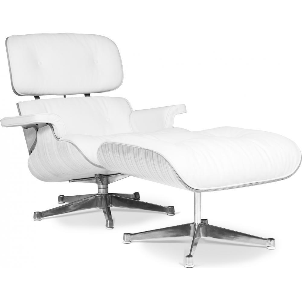 fauteuil lounge bois blanc et cuir blanc inspire charles eames lestendances fr