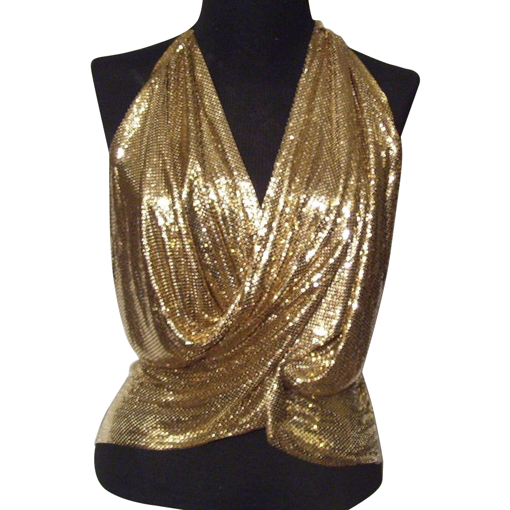 dc72a3befcdf9 Whiting   Davis gold mesh metal halter top cross over from Green-Mannequin  Exclusively on Ruby Lane