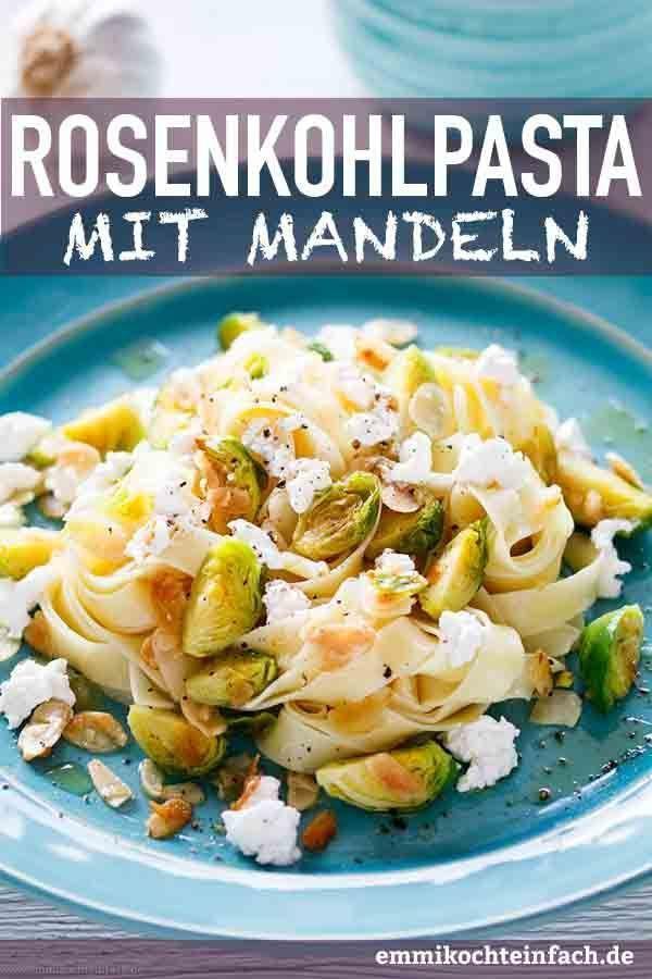 Fettuccine mit Rosenkohl, Mandeln und Ricotta | Das einfache und schnelle Pasta-Rezept. Die unkomplizierte 30 Minuten Feierabendküche, vegetarisch und lecker. | #pasta |
