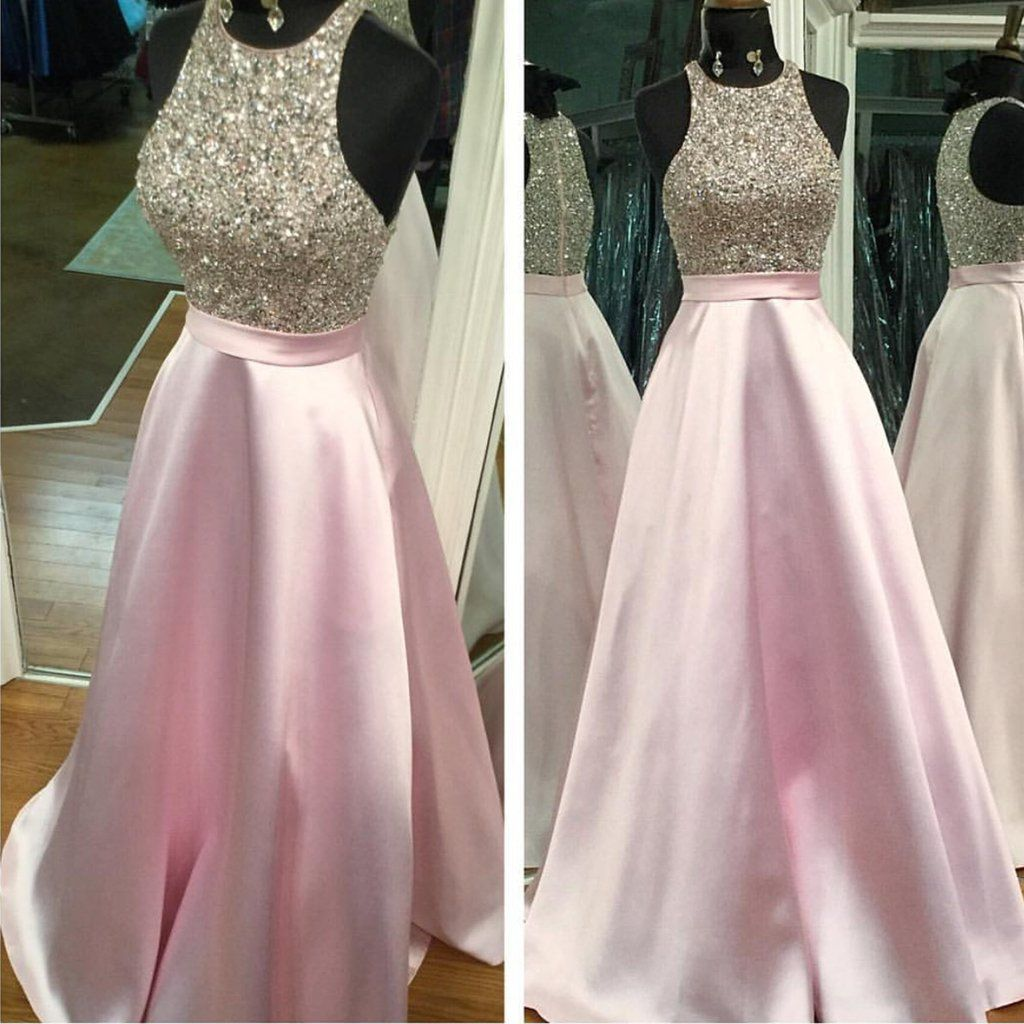 Fully beaded top pink satin long prom dresses sparkly beaded