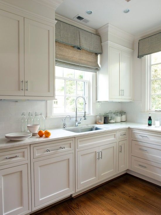 White Kitchens Design, Pictures, Remodel, Decor and Ideas - page 3 Love the  window treatment, love the cabinets, hardware, and the white countertop