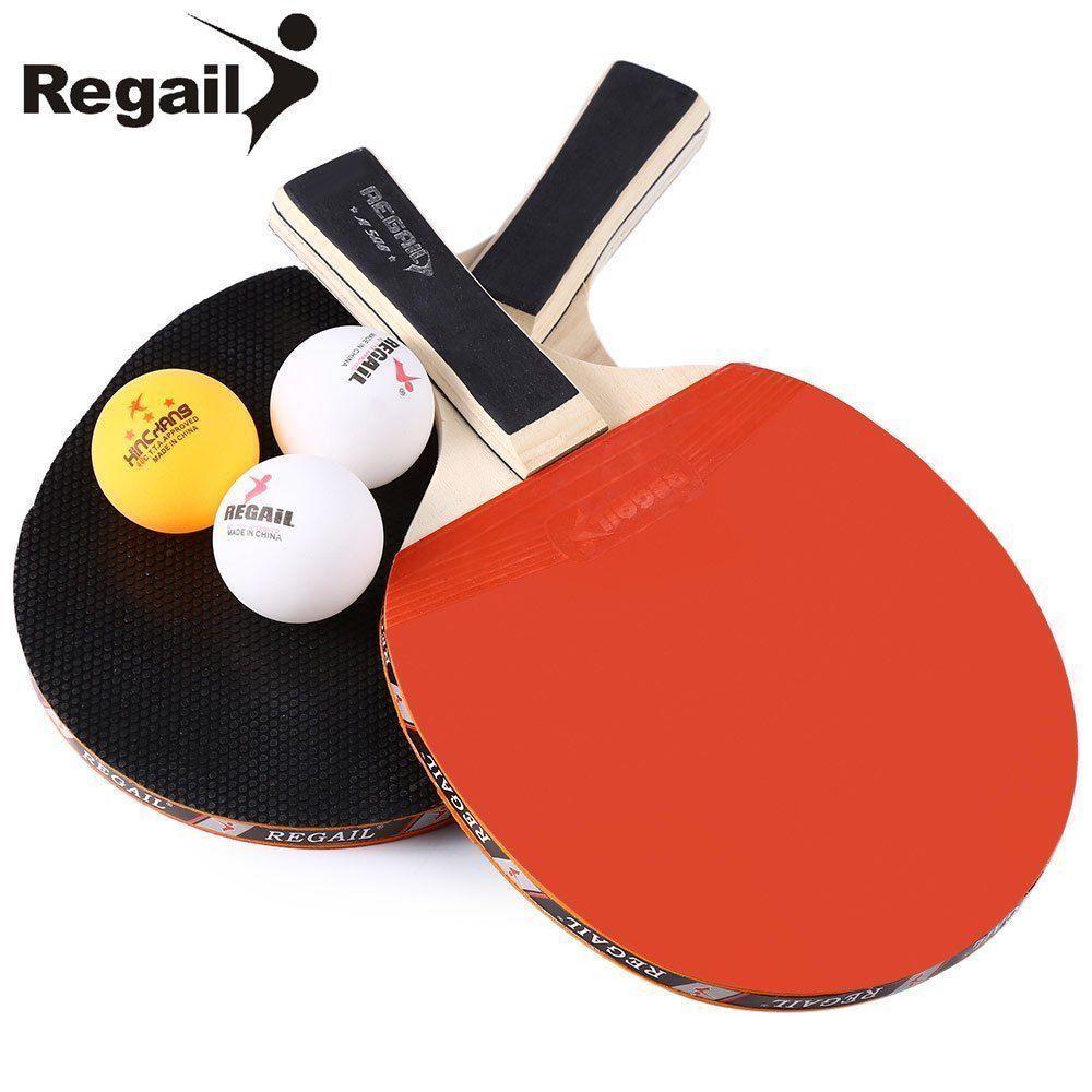 Regail A508 Table Tennis Ping Pong Racket Set Two Handle Paddle Bat Three Balls Sporting Goods Indoor Games Tabl Table Tennis Racket Table Tennis Ping Pong