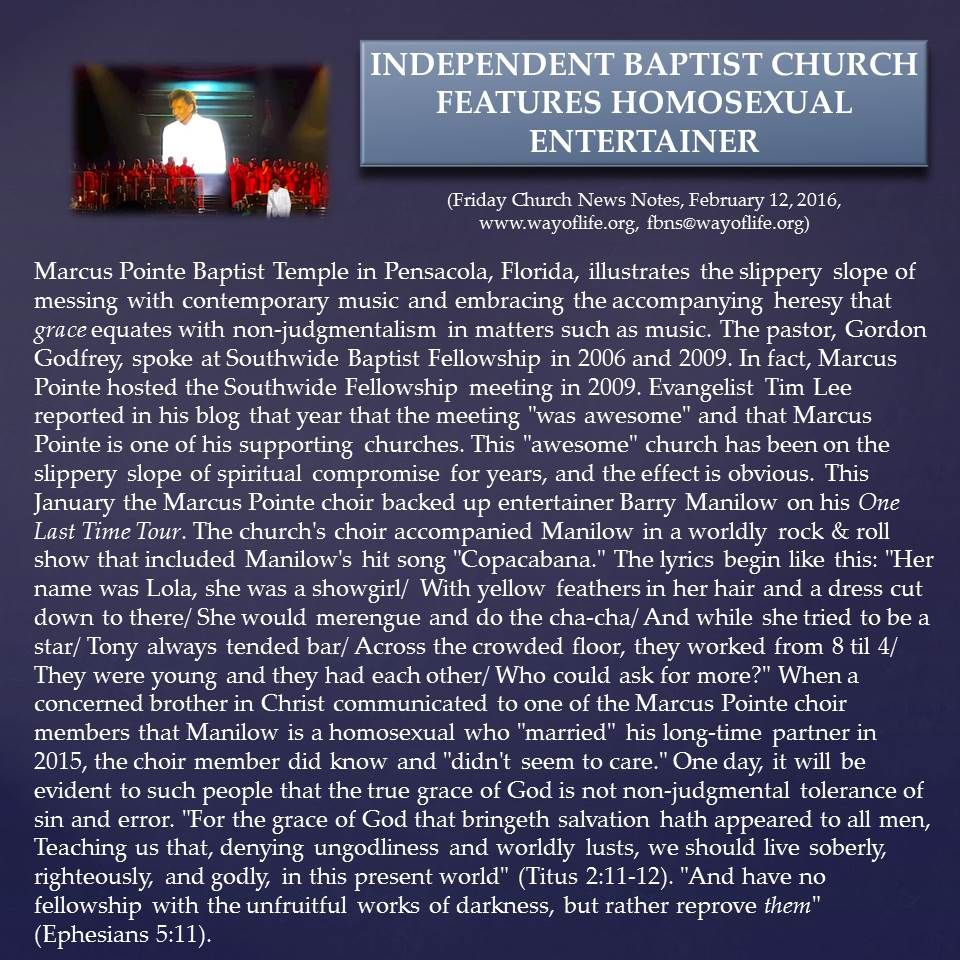 """Independent Baptist Church Features Homosexual Entertainer - """"And have no fellowship with the unfruitful works of darkness, but rather reprove them"""" (Ephesians 5:11 KJV)"""
