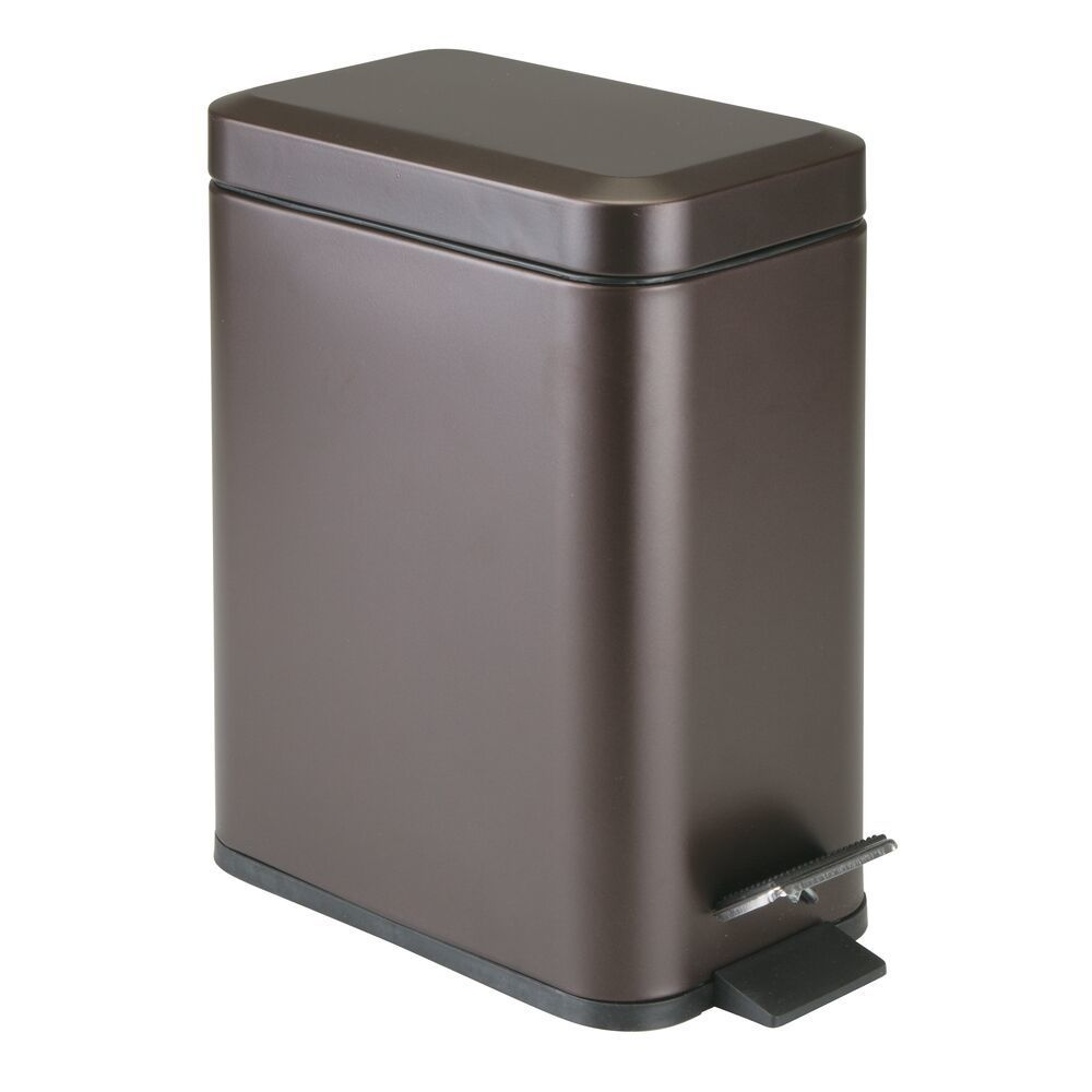 mDesign 5 Liter Rectangular Small Steel Step Trash Can Wastebasket, Garbage Container Bin for Bathroom, Powder Room, Bedroom, Kitchen, Craft Room, Office - Removable Liner Bucket COMPACT DESIGN: The rectangular shape is the perfect size for inside cabinet