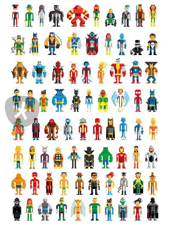 Avengers Pixel Art Template Pixel art iron man hero | stitch | Nerd