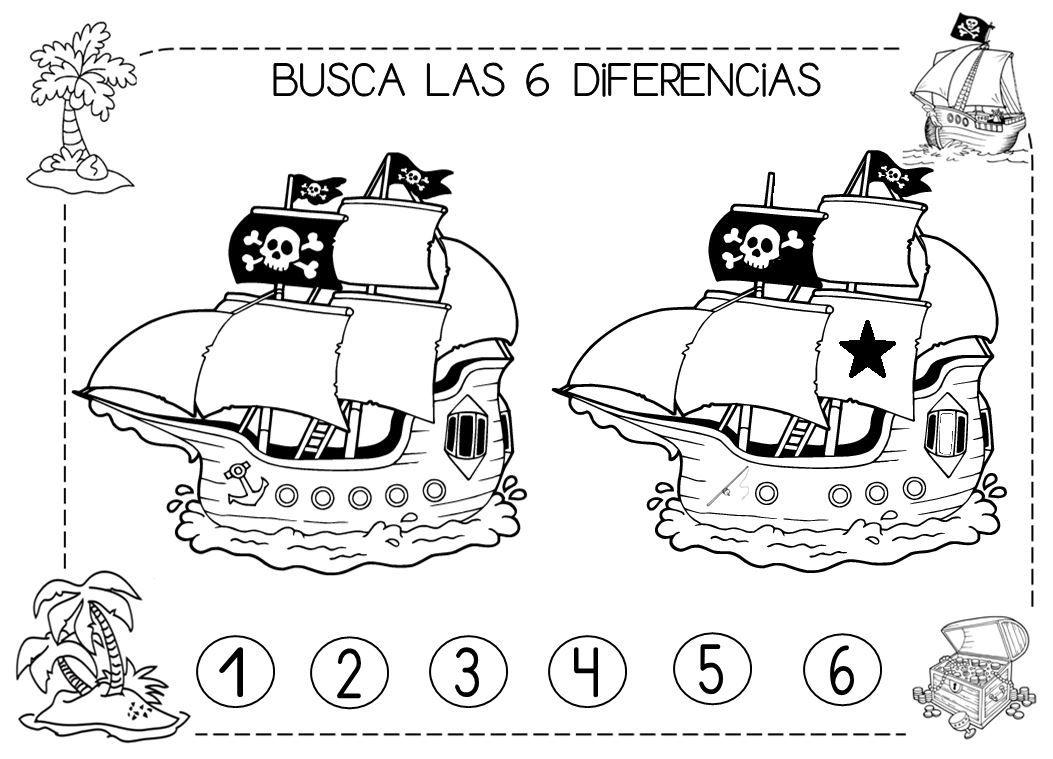 Busca Las 6 Diferencias Piratas Con Imagenes Piratas Tema De