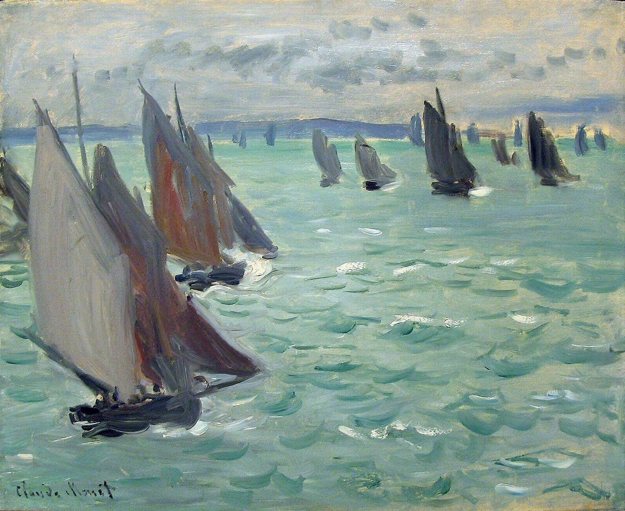 Image of Sailing and Fishing Boats on Harbor Landscape Art Shower Curtain Set