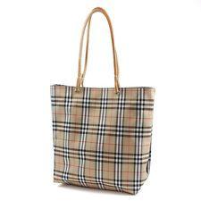 c4f8e8e93db9f Authentic BURBERRY Nylon Leather Hand Bag Tote Bag Beige Plaid Print ...