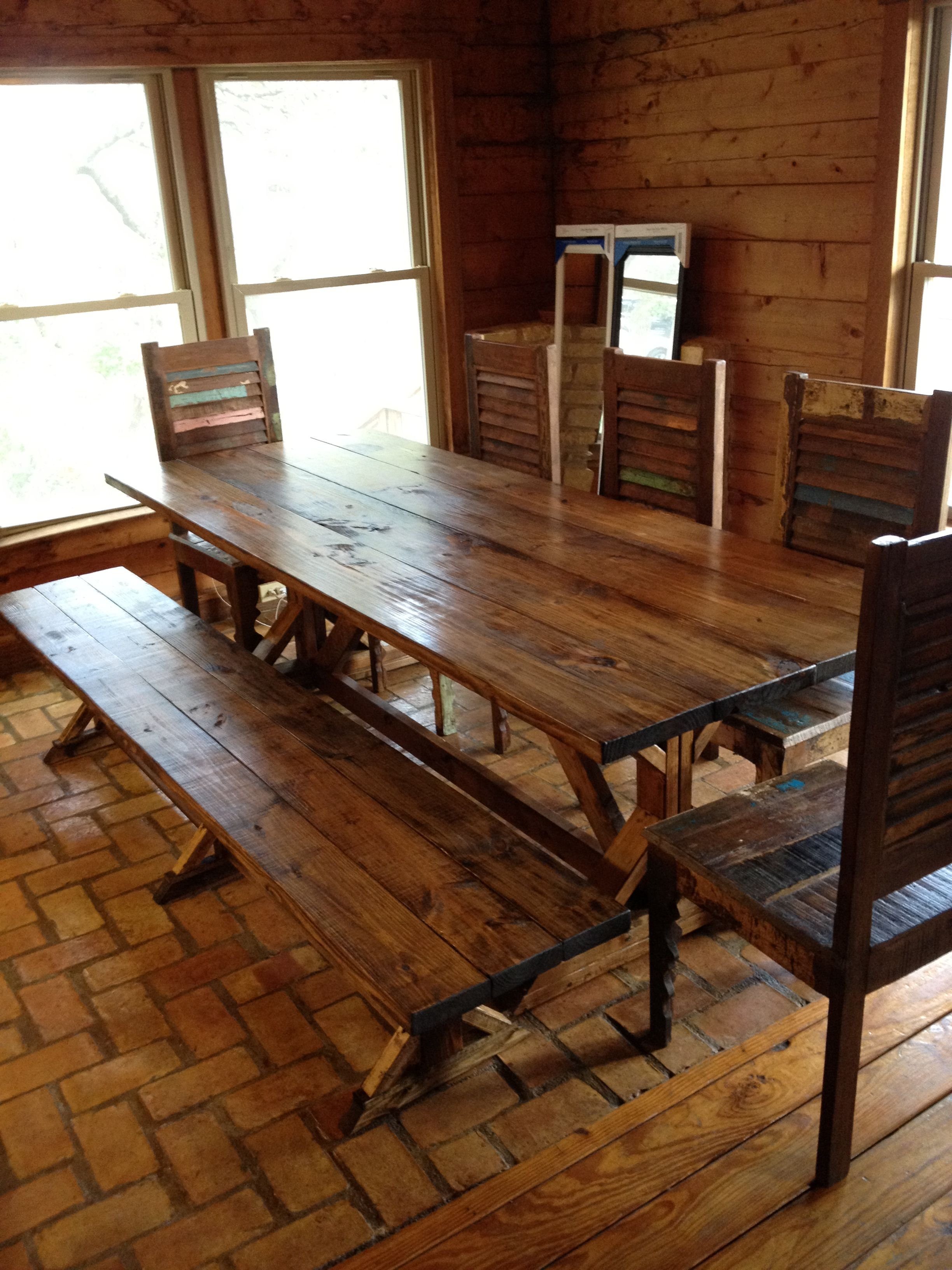 Rustic Dining Table Picnic Style With Bench Seating And Chairs