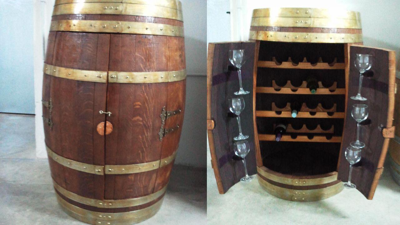 Ideas para reciclar un barril barril botellero cosas - Botellero de madera para vino ...