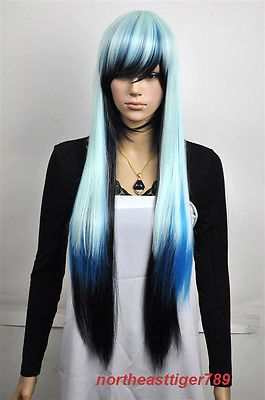Hot Sell New Long Multicolor White Blue Black Straight Women s Hair Wig Wigs+Cap  in Health   Beauty f0b208aa15