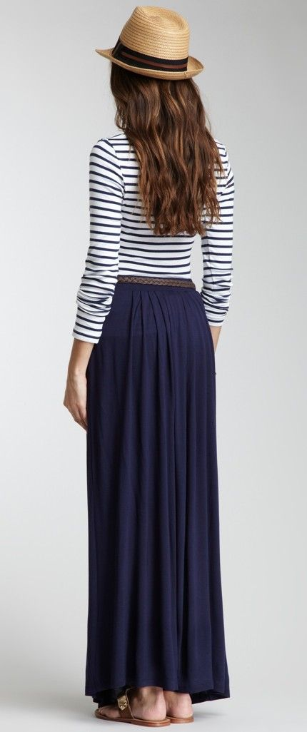 5cf5a9f05a656a summer stripes+maxi skirt # dark blue # casual = jupe longue marine ...