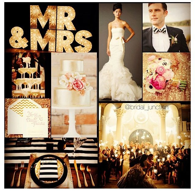 Black & gold with a pop of pink wedding! Love the striped bowtie!  #sparklers #gold