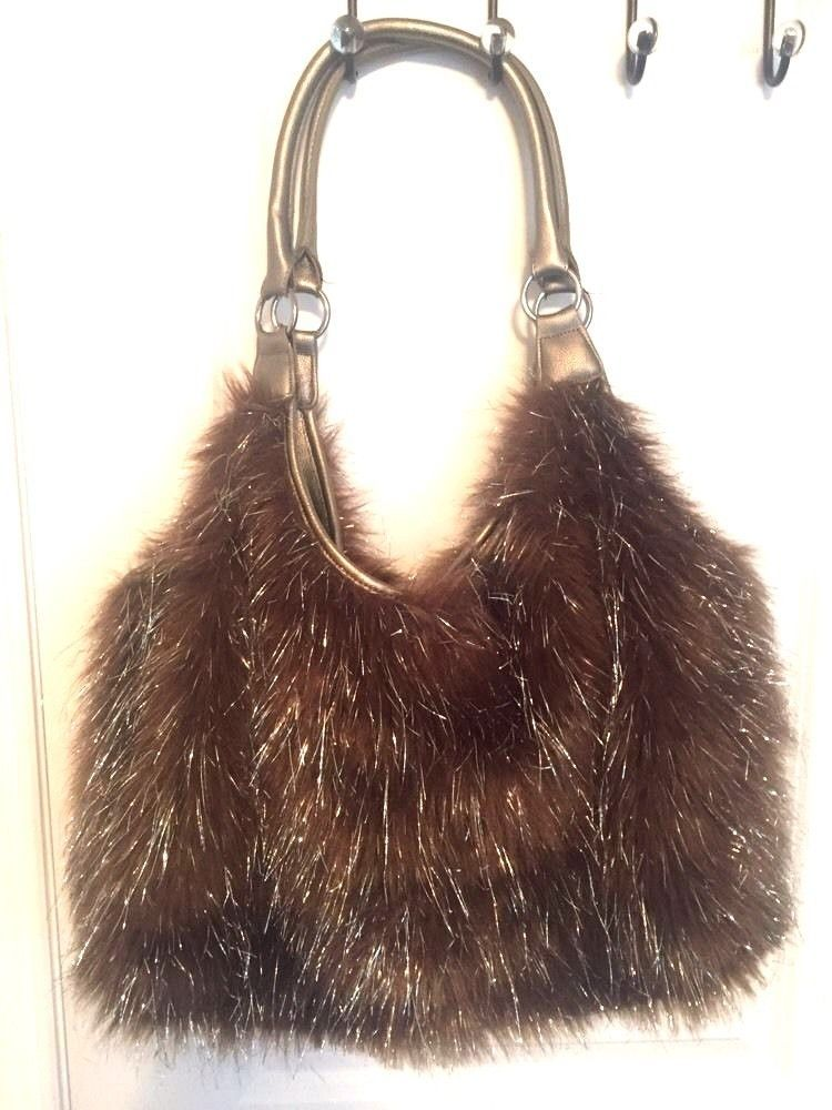 1bbcb4554f Joan Boyce Brown Faux Fur with Silver Tinsels Handbag