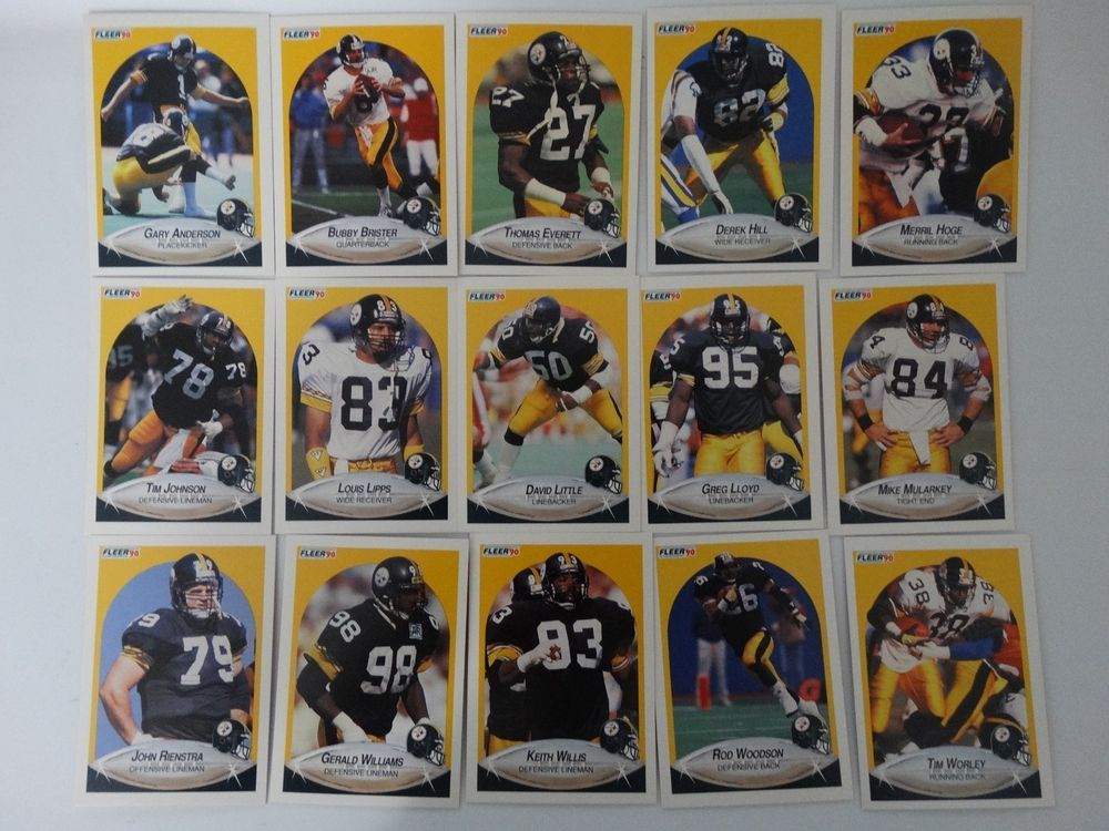 1990 fleer pittsburgh steelers team set of 15 football