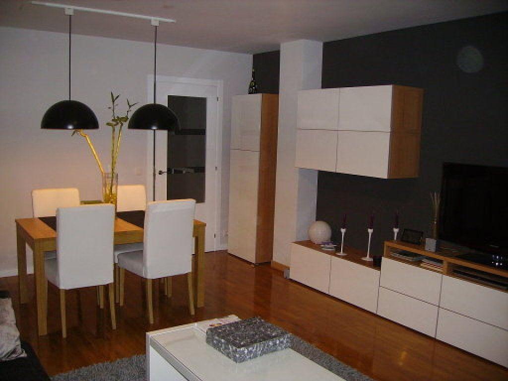 Mueble besta blanco haya y mesa bjursta roble decorar tu casa es salones en - Mesa salon roble ...