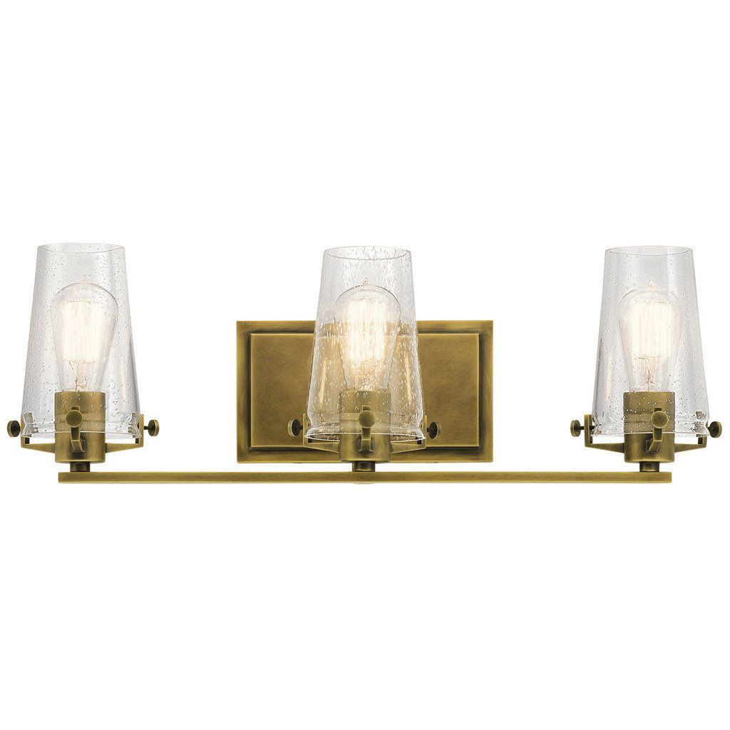 Kichler Lighting Alton Collection 3 Light Natural Brass Bath Vanity Gold