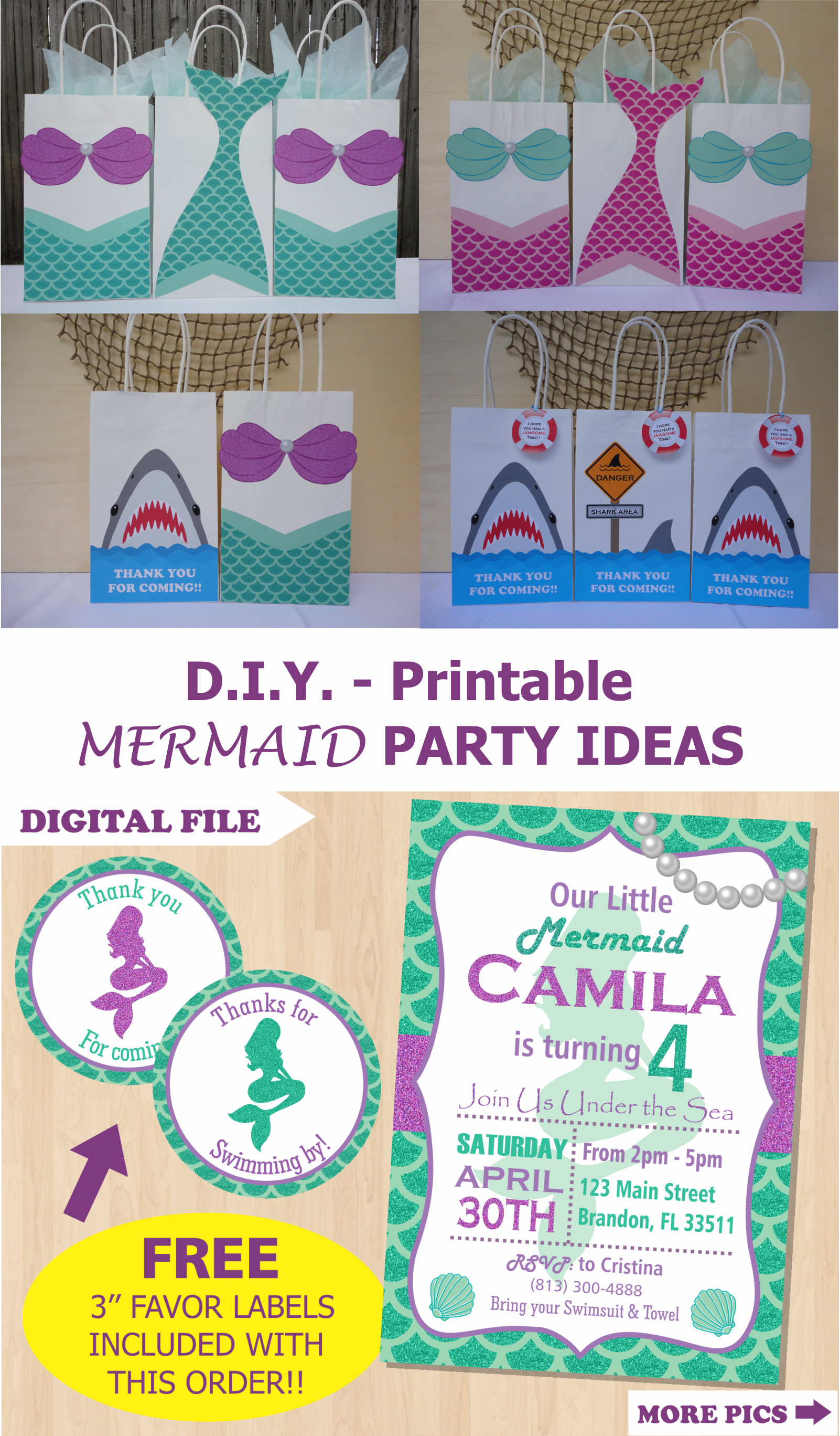 Mermaid Party Favor Bags Mermaid Birthday Party Ideas