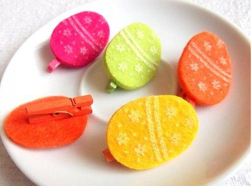 CreativePleasure / Veľkonočné dekoračné vajíčka so štipčekom- filc, rôzne farby