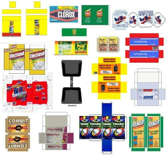 Dollhouse Miniatures Printables: Miniature Printables - Cleaning Supplies (V)