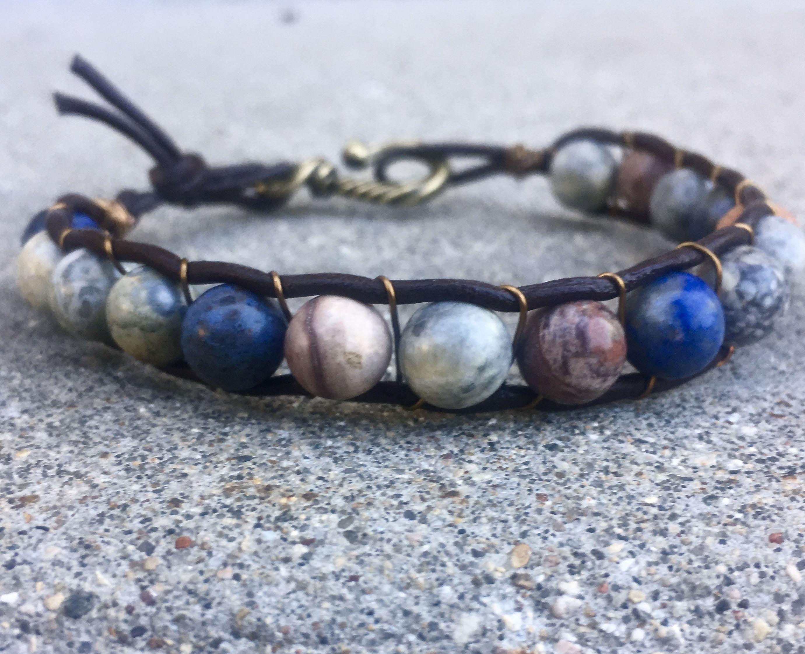 Mens Sky Eye Jasper and Sunset Dumortierite Leather Wrap Bracelet