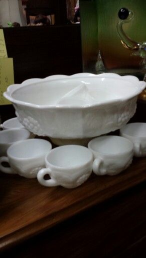 Milk Glass Punch Bowl And Cups In The Grape Pattern Fabulous