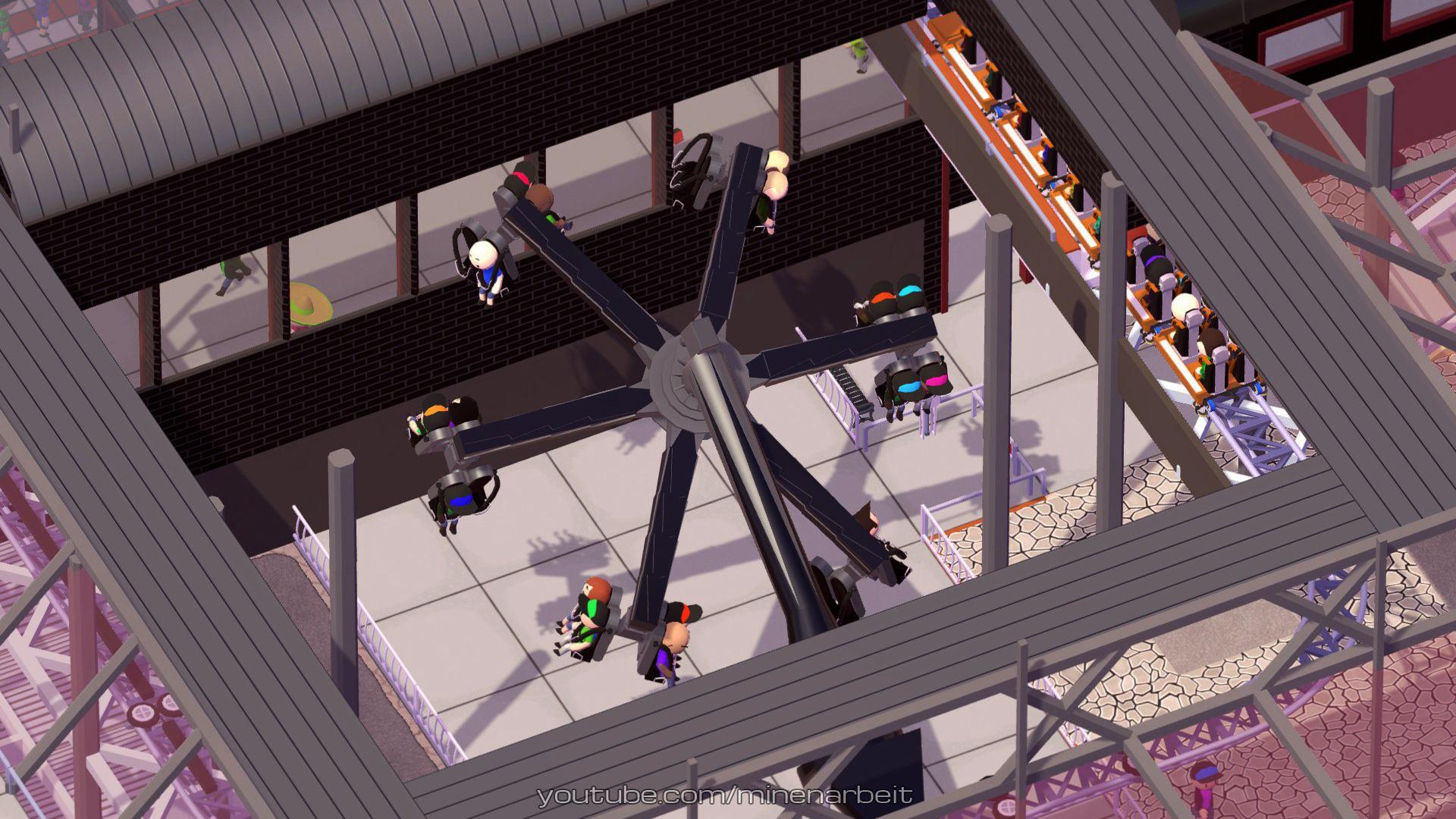 Das Power Surge Karussel im Hafen Center des Minenarbeit Industrie- und Freizeitparks.  #parkitect #kreativ #bauen #spielen