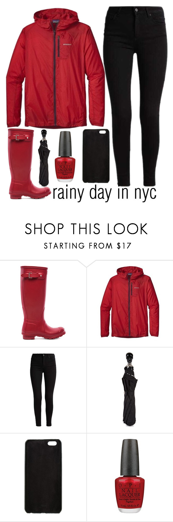 """rainy day in nyc"" by j-n-a ❤ liked on Polyvore featuring Hunter, Patagonia, Alexander McQueen, Fendi, OPI, NYC, rainyday, rain and rainydayfashion"