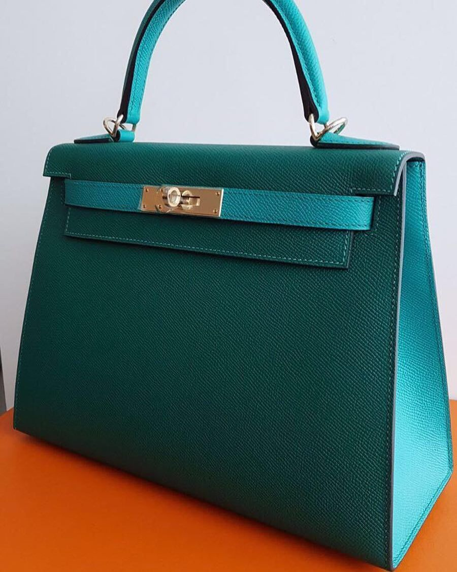 3921f338a5a Hermes Kelly28 Sellier HSS Malachite   Blue Paon Epsom Permabrass hw ...