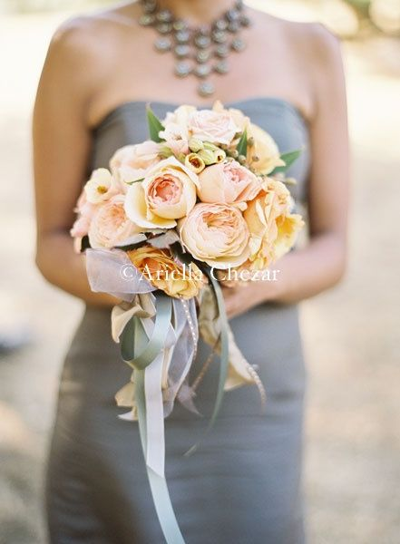 I like this ideaidesmaids in gray maid of honor in a peach and urch grey bridesmaid dress pink and peach bouquet love the long ribbons with the bouquet mightylinksfo