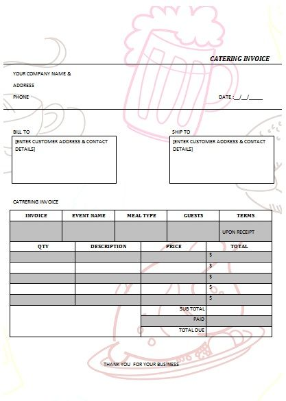 CATERING INVOICE 1 Catering Invoice Templates Pinterest Catering - sample catering proposal template