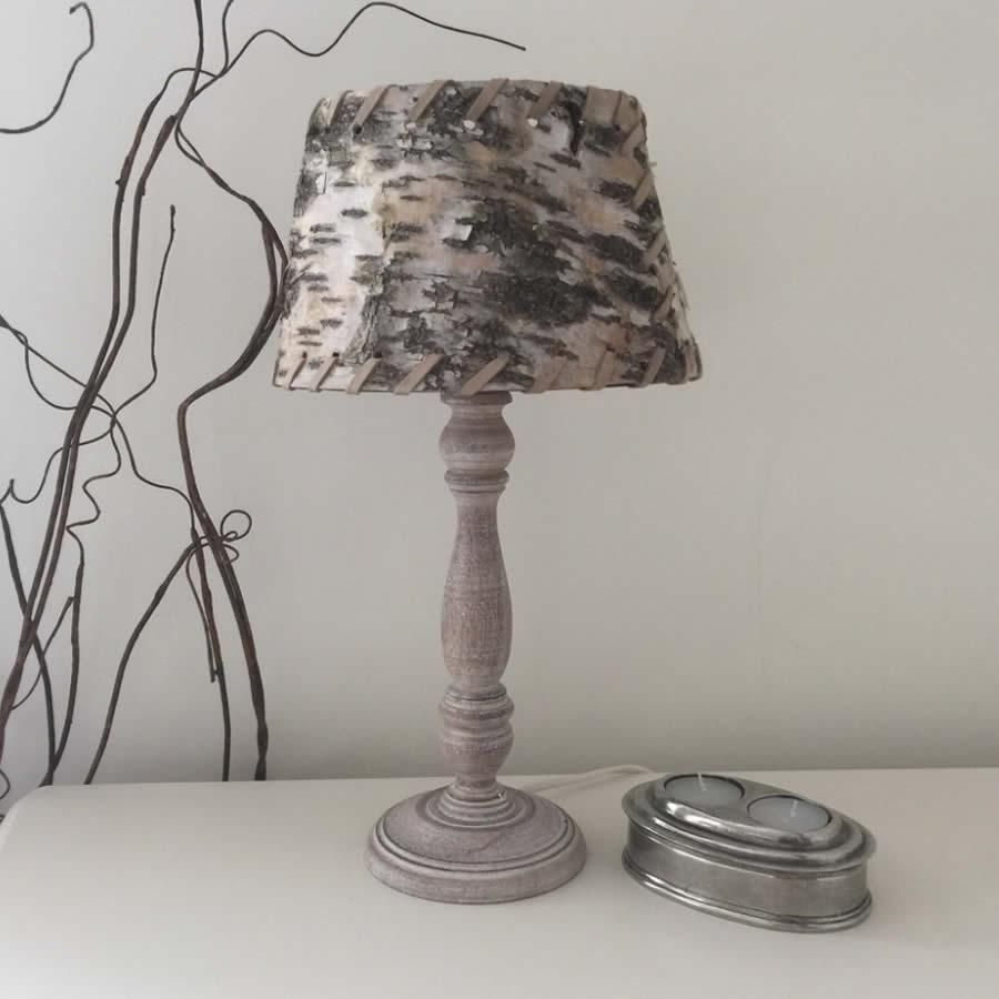 Light Grey Wash Small Round Wood Table Lamp | Table lamp ...