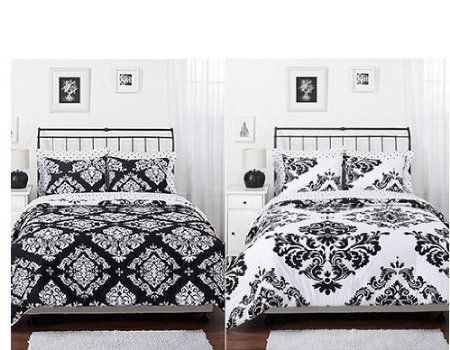 amazoncom black white damask reversible girls teens full comforter set home - Damask Bedroom Ideas