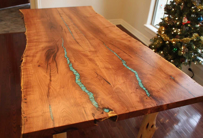 96 Custom Mesquite Wood Top Dining Table With Slide Alder Base