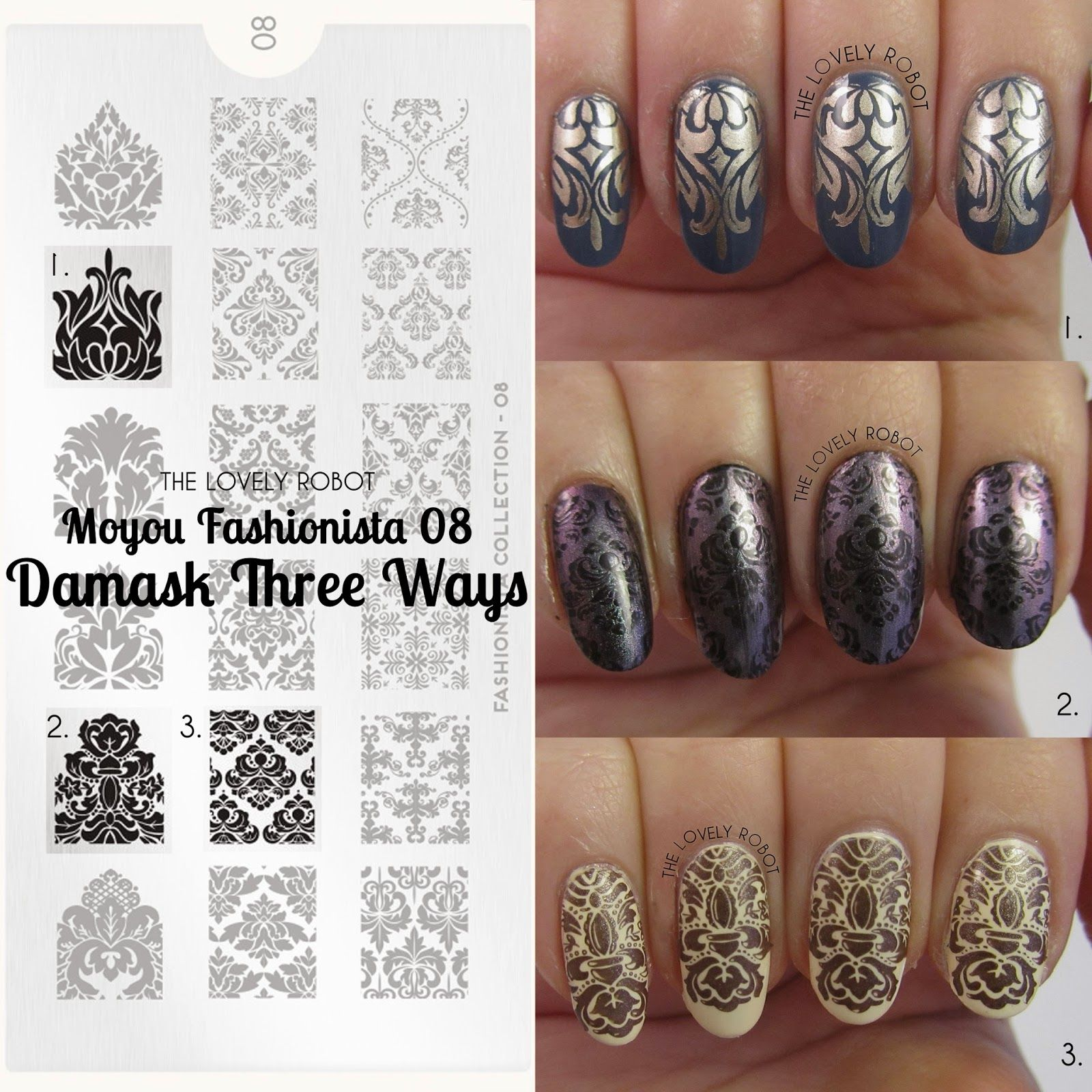 MoYou Fashionista 08 - Damask three ways! Stamping Nail Art   Makeup ...
