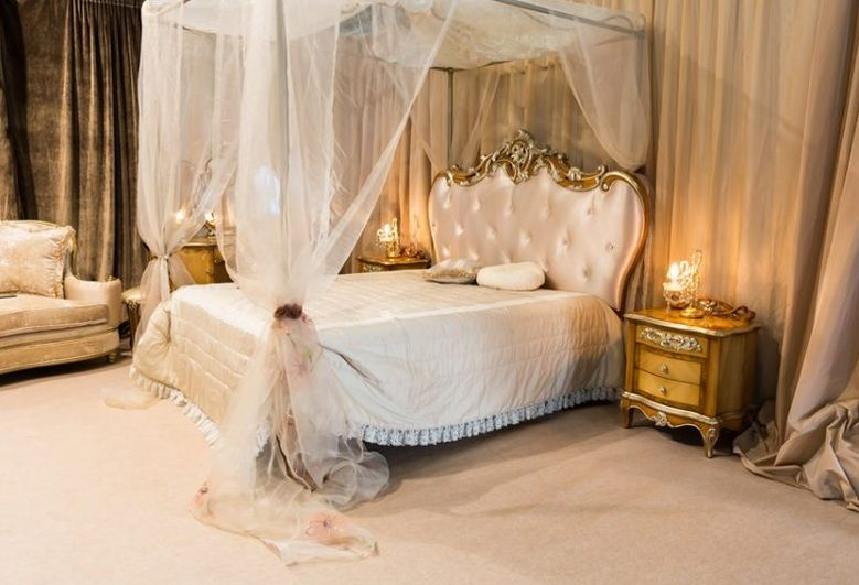 Luxury gold and white bedroom ideas with canopy bed Decolover