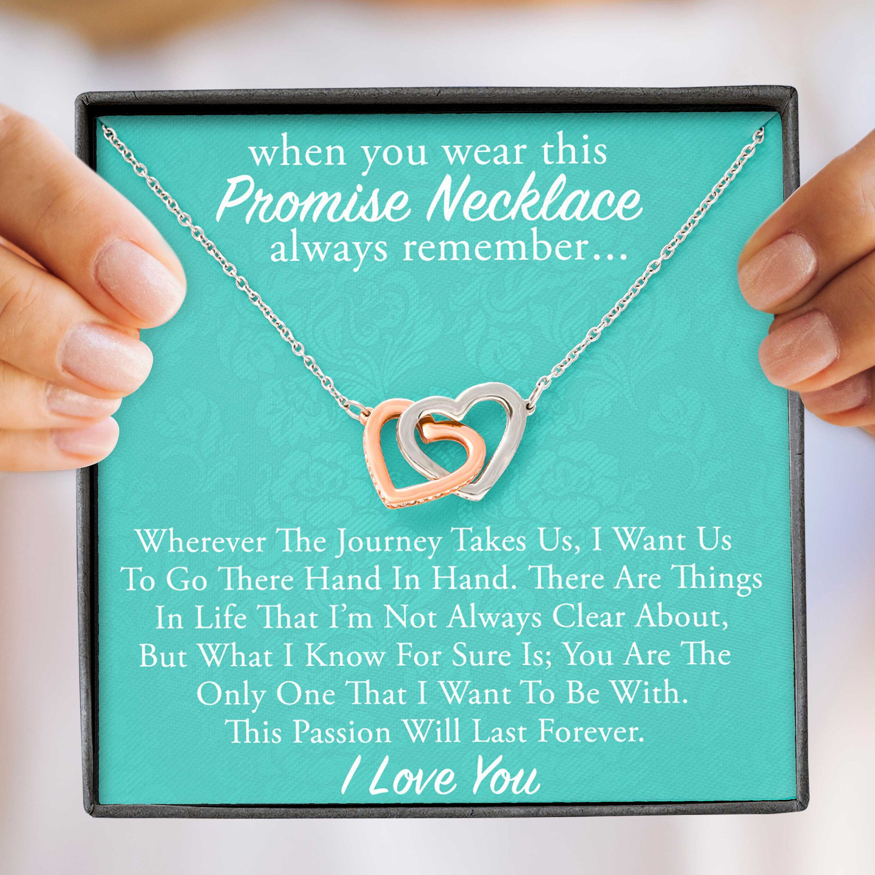 """""""Promise Necklace for Future Wife, Engagement Gift for Future Wife, Sentimental Gift for Bride from Groom, Birthday Gift for Fiancee, Fiance ------------------------------------------------------------------------ The Perfect Promise Necklace For Her! The interlocking hearts are a symbol of never-ending love between two close individuals. Surprise your true love with this beautiful piece. Make a great necklace for girlfriend. Necklace Message Card Reads: \""""When you wear this promise necklace, al"""