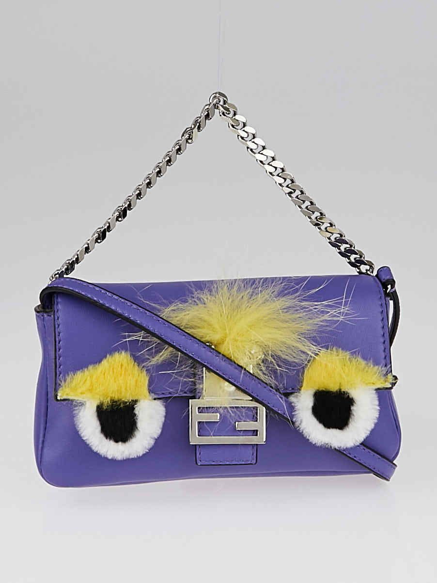 eff15bbe98 Details about Fendi Purple Lambskin Leather and Fox Fur Micro Buggie ...