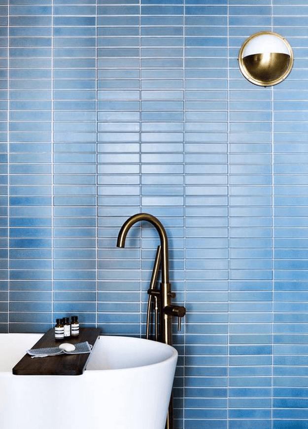 slate blue mosaic wall tile denim blue