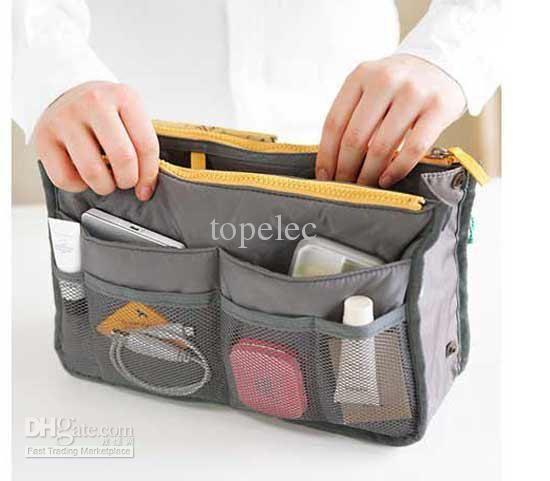Black Leather Handbags Women Travel Insert Handbag Cosmetic