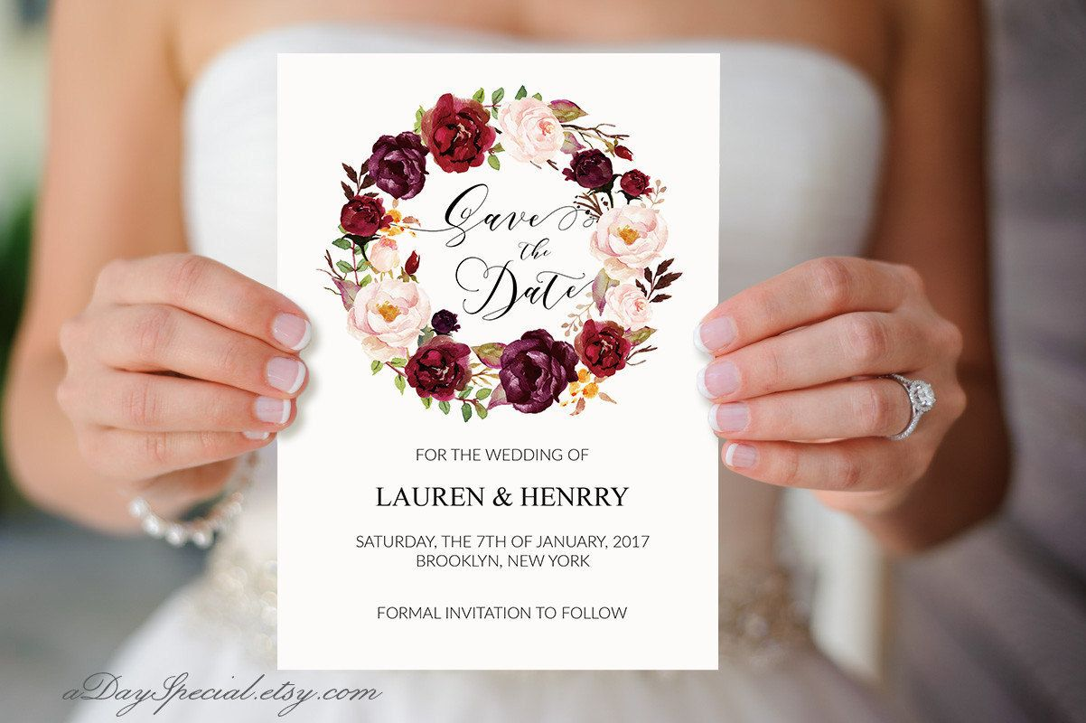 Burgundy Rose Wreath Wedding Save the Date