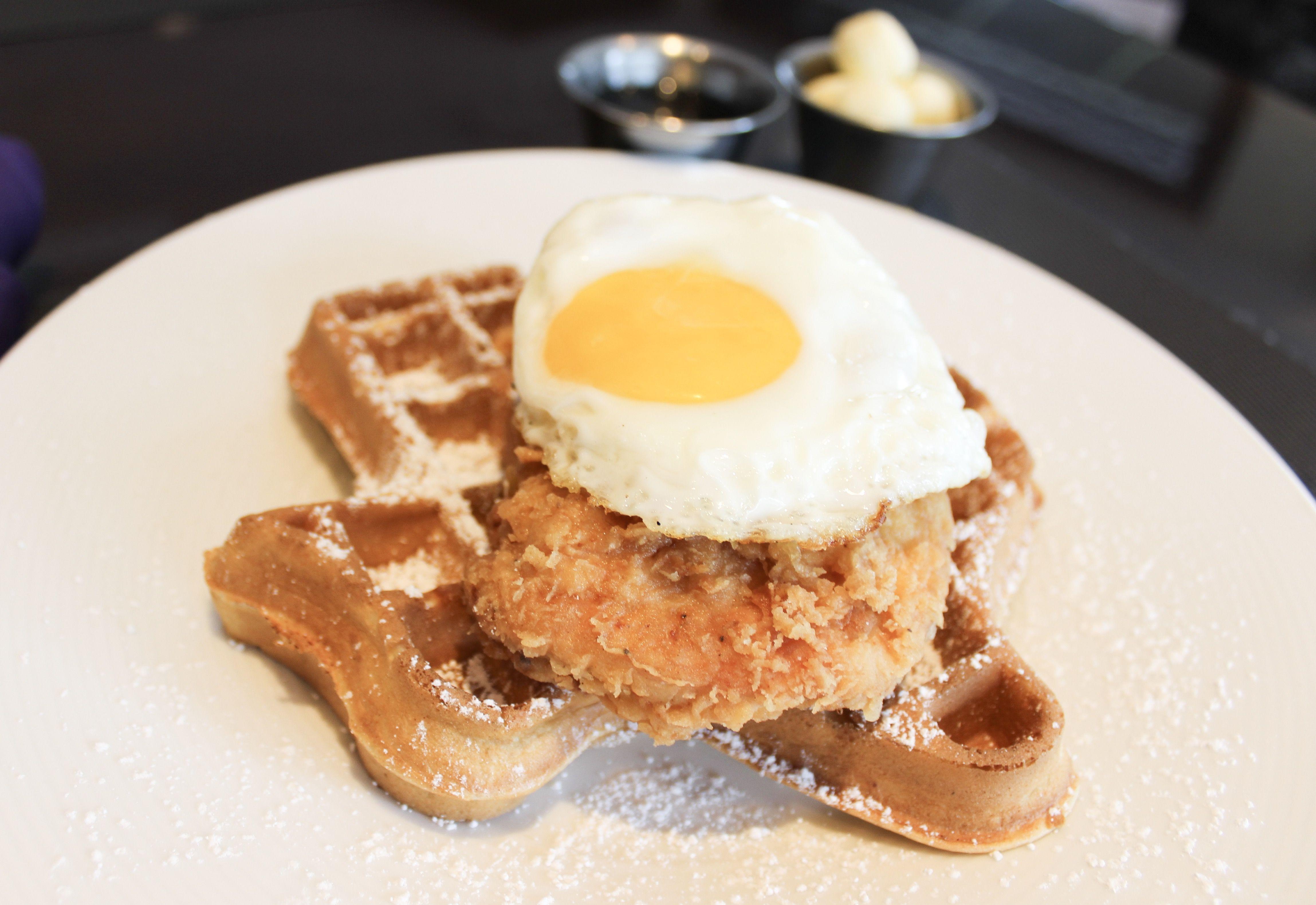 Chicken waffle at hotel dereks revolve kitchen bar