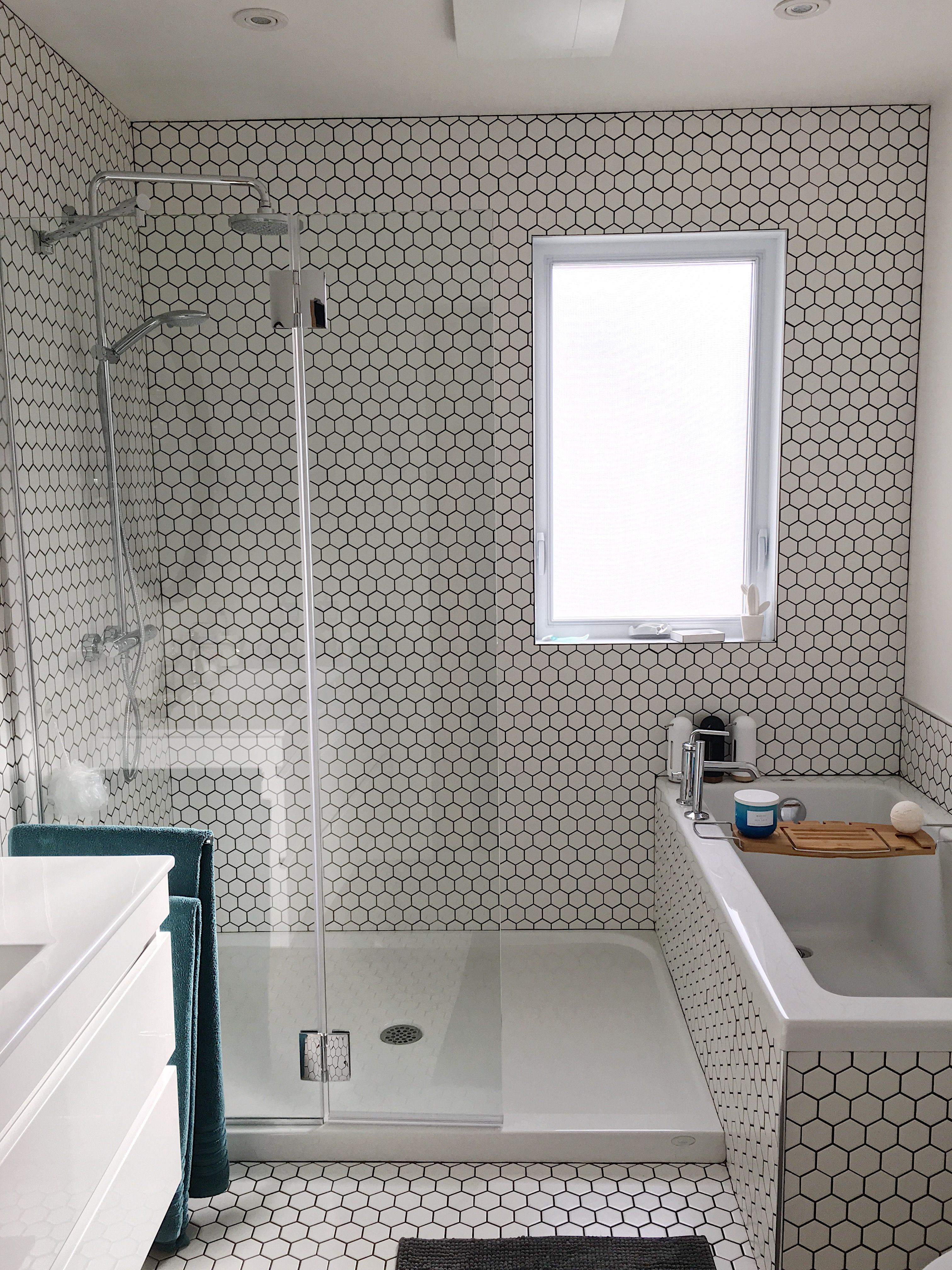 small bathroom renovations with amazing mosaic | Small bathroom remodel, all white with accent of dark ...