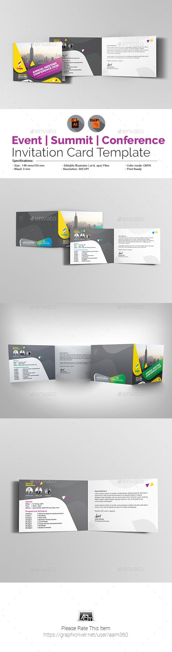 Event Summit Conference Invitation Card Template Vector