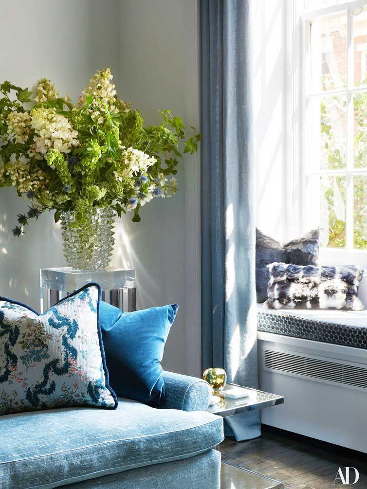living room in blue%0A Carole Radziwill u    s New York Sanctuary  Apartment DesignApartment Makeover Living SpacesFormal Living RoomsBlue