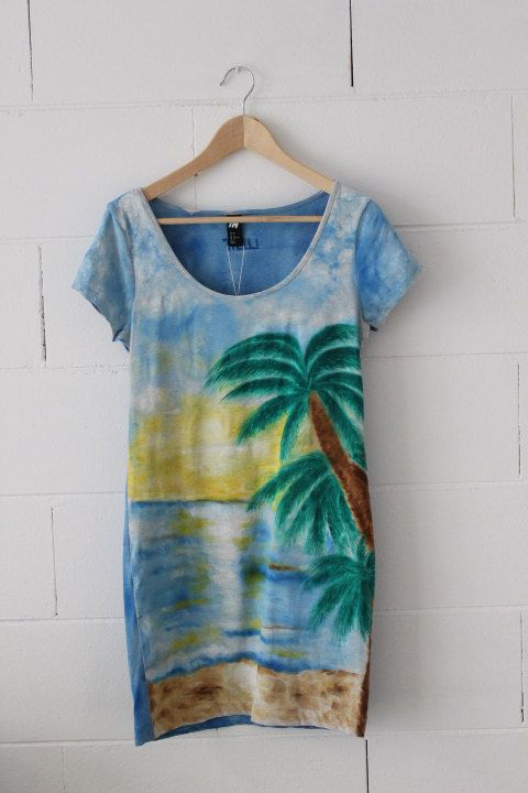 Hand Painted  women dress, palm and sea landscape, stretch cotton dress M size, by Thelli, summer dress, painting on dress, one of a kind on Etsy, $71.04