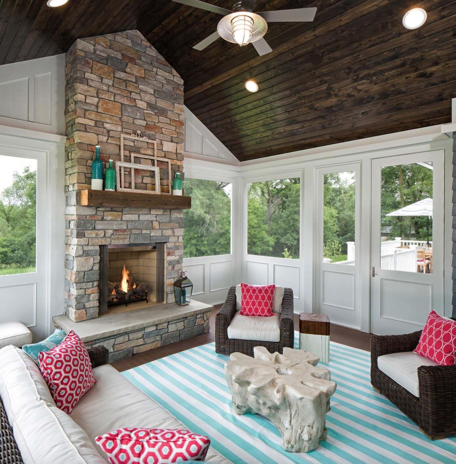 Screen Porch Fireplace Ideas 38 Amazingly